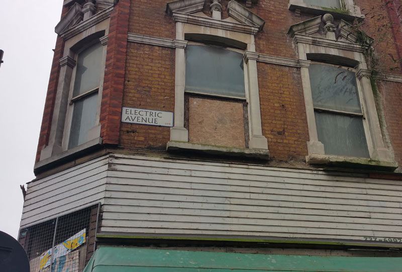 Unrestored building on Electric Avenue, Brixton