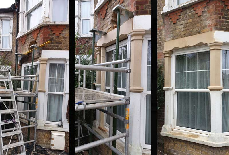 Photos of the lintel replacement project