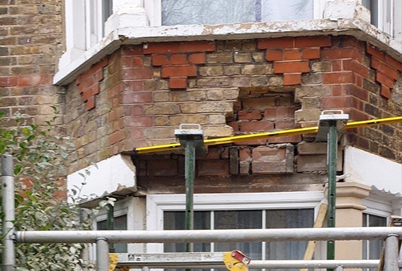 Window lintel installation - before repair