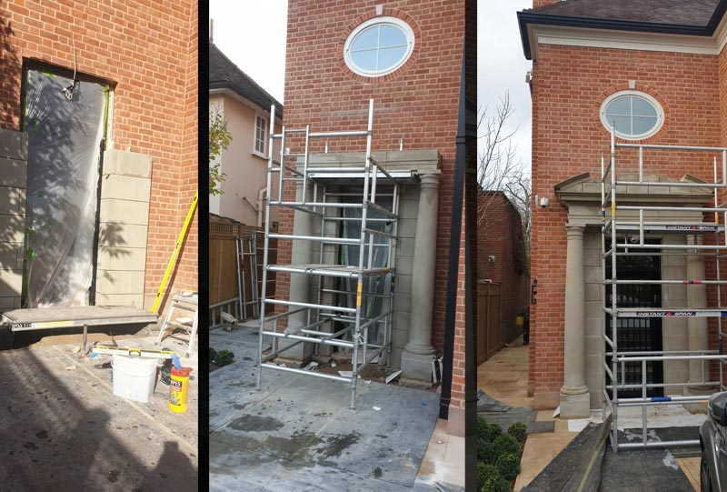 Stone portico - photos from the build