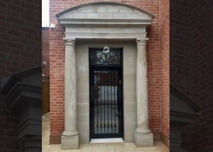 Stone portico installation, London