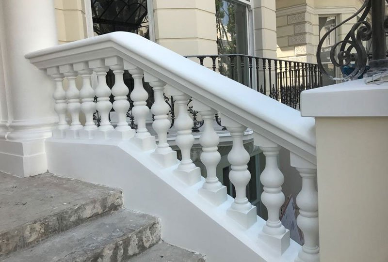 Restored stone balustrades in London