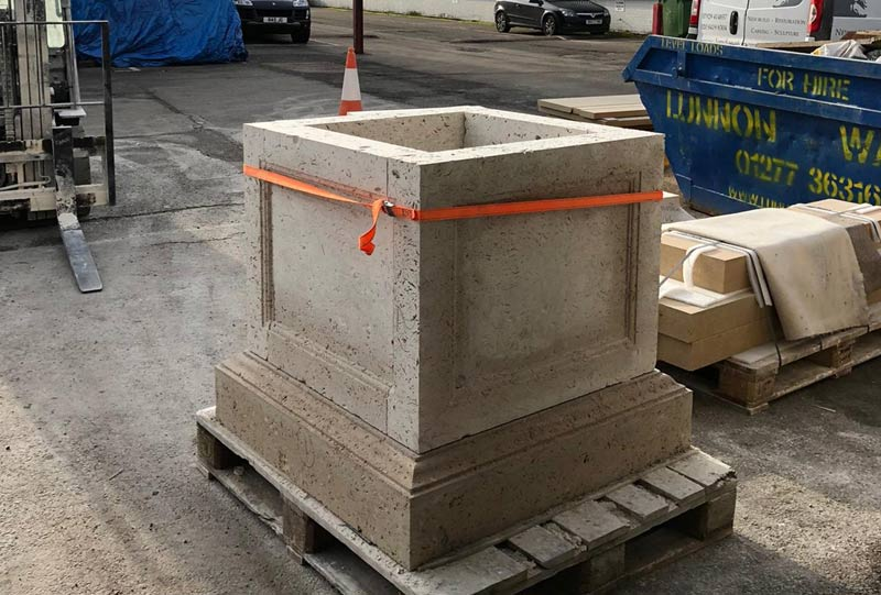 New stone planter in the workshop