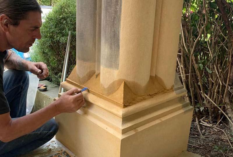 Mortar repair to stone column