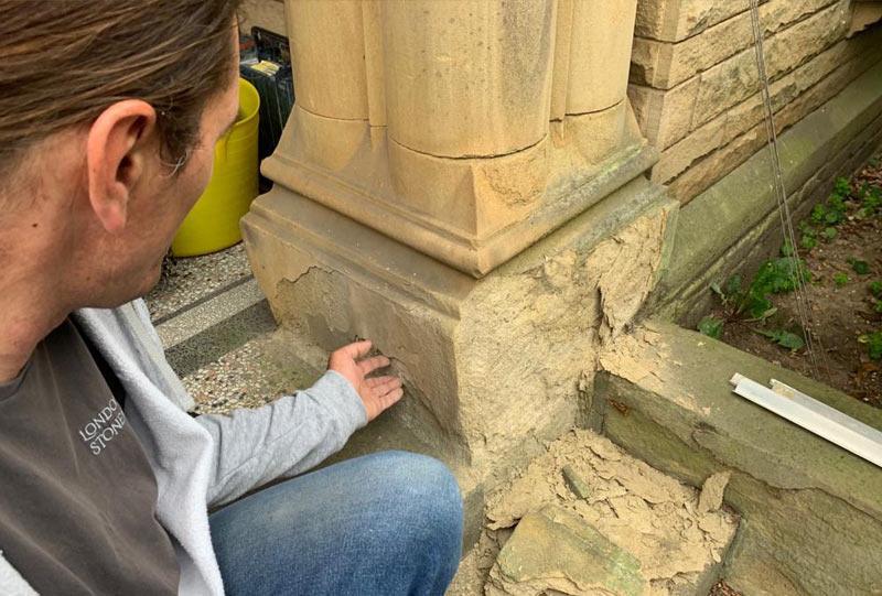 Stone column before repair