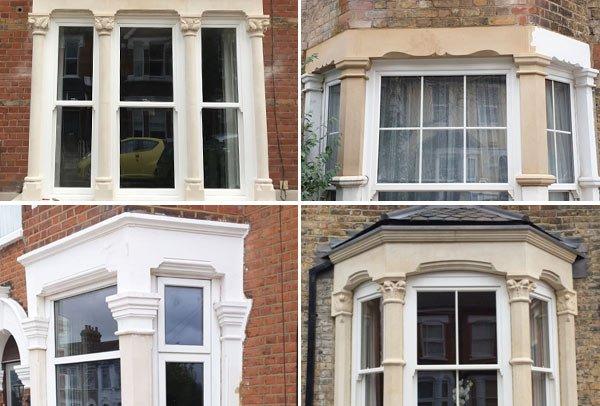 Bay window restoration by London Stonemasonry