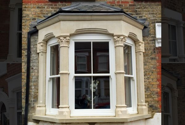 Victorian bay window hand carved by London Stonemasonry
