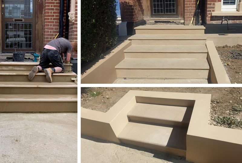 Stone steps and paving laid by London Stonemasonry
