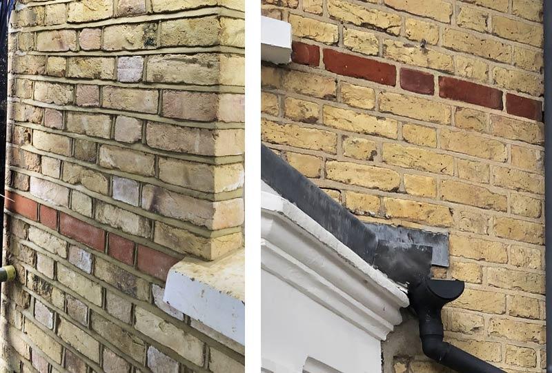 Brickwork revealed, under the render