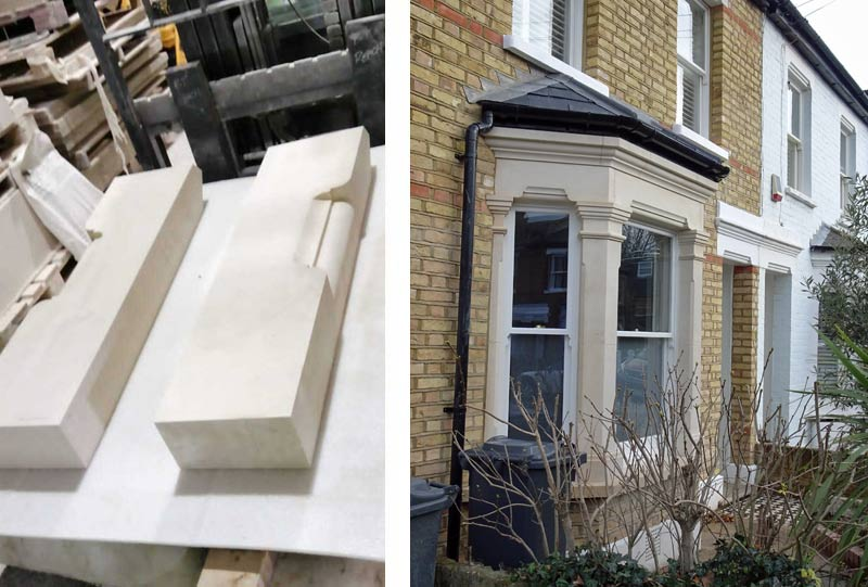 Carvings for the new bay window London