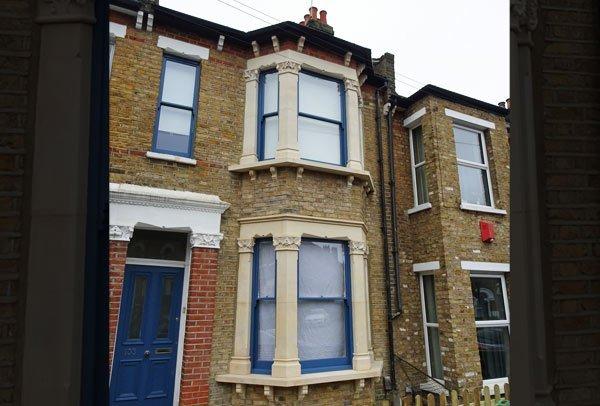 A double bay window rebuild by London Stonemasonry